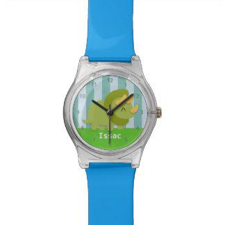 Kawaii cartoon of green and yellow Triceratops Wristwatch