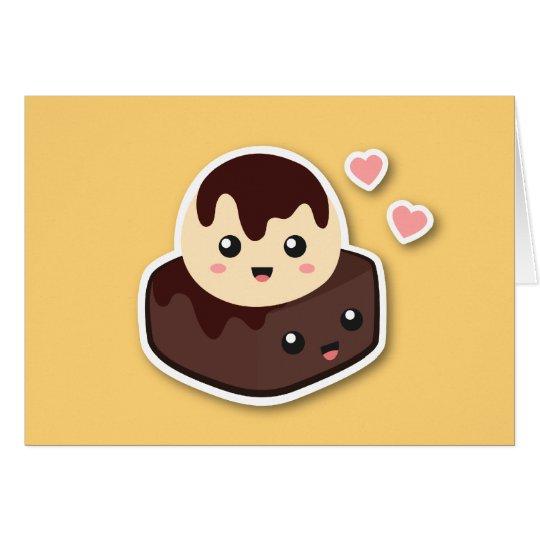 Kawaii Cartoon of Vanilla Ice Cream and Brownie