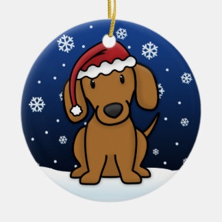 Kawaii Cartoon Red Dachshund Christmas Christmas Ornament
