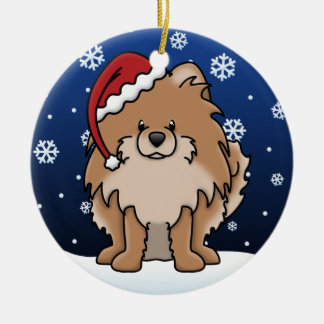 Kawaii Cartoon Red Pomeranian Christmas Ornament