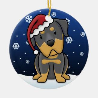 Kawaii Cartoon Rottweiler Christmas Christmas Ornament