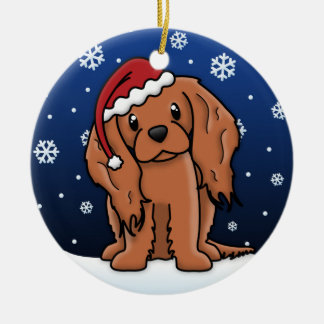 Kawaii Cartoon Ruby Cavalier King Charles Spaniel Round Ceramic Decoration