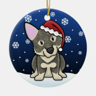 Kawaii Cartoon Swedish Vallhund Christmas Ornament