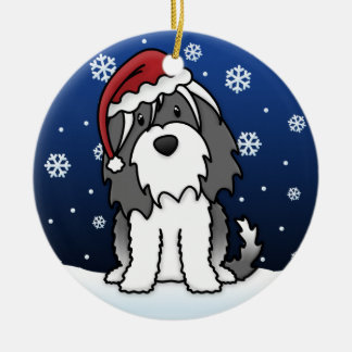 Kawaii Cartoon Tibetan Terrier Christmas Round Ceramic Decoration