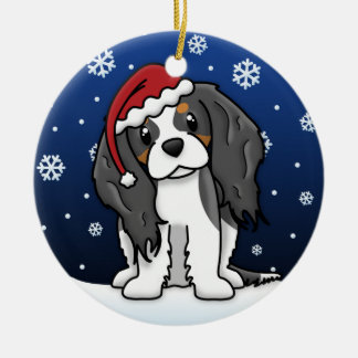 Kawaii Cartoon Tri Cavalier King Charles Spaniel Round Ceramic Decoration