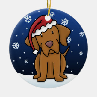 Kawaii Cartoon Vizsla Christmas Ornament