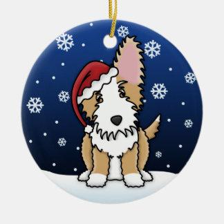 Kawaii Cartoon Wire Portuguese Podengo Christmas Round Ceramic Decoration
