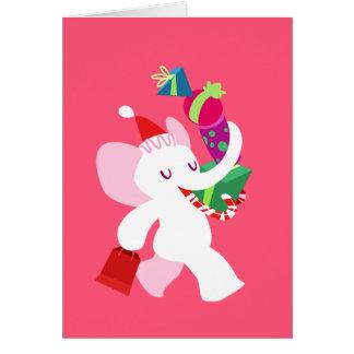 Kawaii Cartoon X-mas White Elephant Card