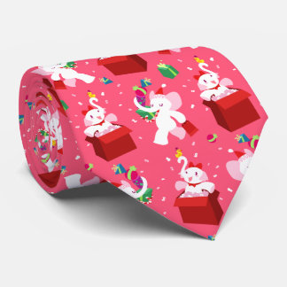 Kawaii Cartoon X-mas White Elephant Tie