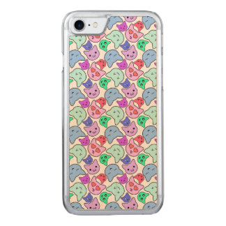 Kawaii Cat Face Pattern Carved iPhone 8/7 Case