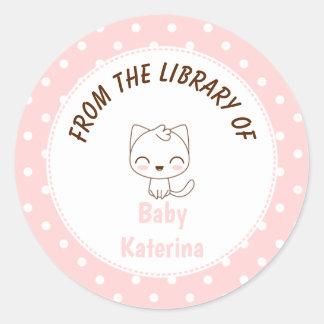 Kawaii Cat Girly pink polka dots Bookplate Classic Round Sticker