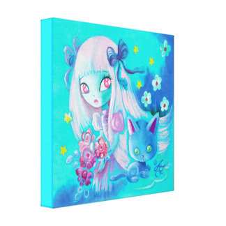 Kawaii Cat with Pink Haired Girl Gallery Wrapped Canvas