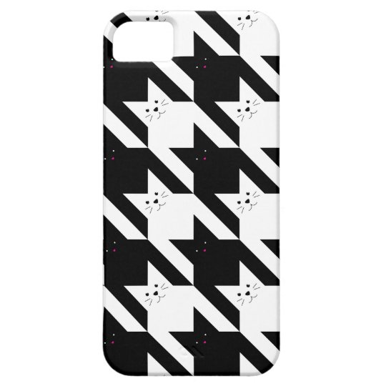 Kawaii Cats | Black and White Houndstooth Pattern Case For The iPhone 5