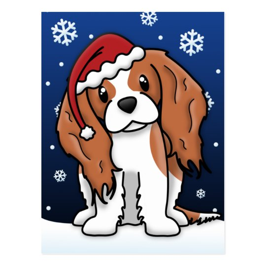 Kawaii Cavalier Spaniel Christmas Postcard