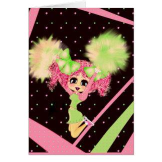 Kawaii Cheerleader PinkyP customizable Greeting Card
