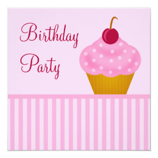 Kawaii Cherry Cupcake Birthday Party Invitations