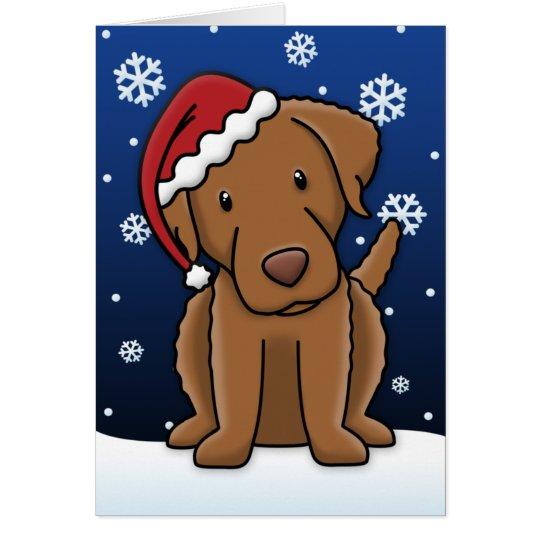 Kawaii Chesapeake Bay Retriever Christmas Card