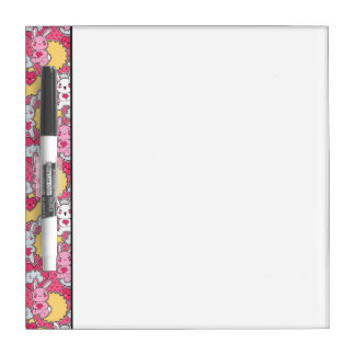 Kawaii Child Pattern with Cute Doodles Dry Erase Board