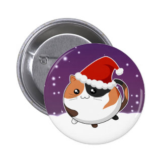 Kawaii christmas calico kitty cat 6 cm round badge