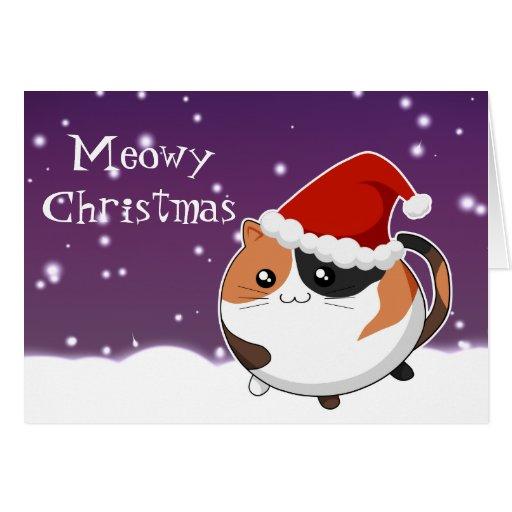 Kawaii christmas calico kitty cat greeting card