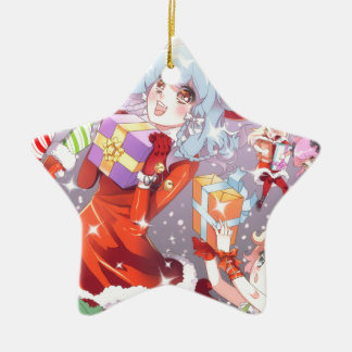 Kawaii Christmas Ceramic Star Decoration