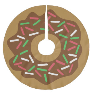 Kawaii Christmas Donut Red Green Sprinkles Iced Brushed Polyester Tree Skirt