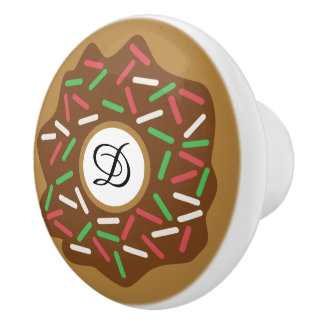 Kawaii Christmas Donut Red Green Sprinkles Iced Ceramic Knob