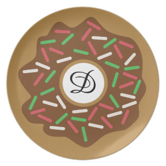 Kawaii Christmas Donut Red Green Sprinkles Iced Plate