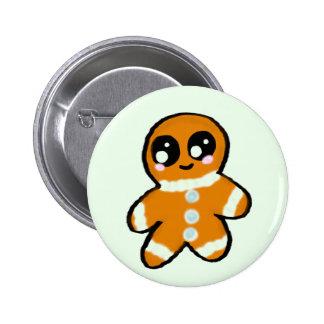 Kawaii Christmas Gingerbread Man Button