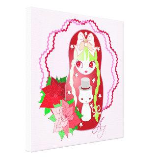 Kawaii Christmas  Matryoshka with Snowman Stretched Canvas Print