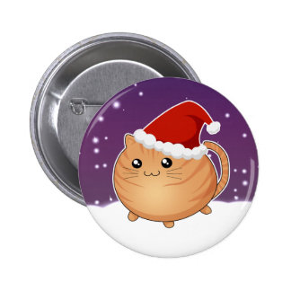 Kawaii christmas orange tabby kitty cat 6 cm round badge