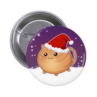 Kawaii christmas orange tabby kitty cat 6 cm round badge