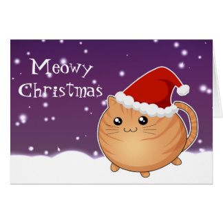 Kawaii christmas orange tabby kitty cat card