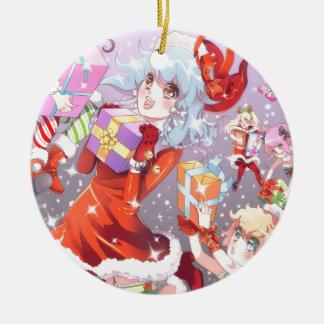 Kawaii Christmas Round Ceramic Decoration