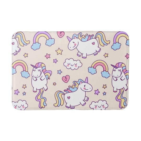 Kawaii chubby flying unicorns rainbow pattern bath mats