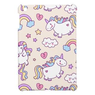 Kawaii chubby flying unicorns rainbow pattern cover for the iPad mini