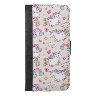 Kawaii chubby flying unicorns rainbow pattern iPhone 6/6s plus wallet case