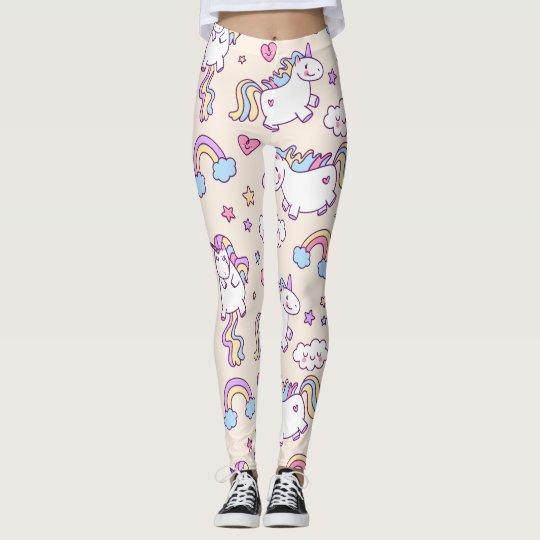 Kawaii chubby flying unicorns rainbow pattern leggings