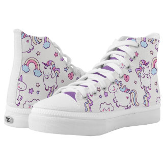 Kawaii chubby flying unicorns rainbow pattern printed shoes