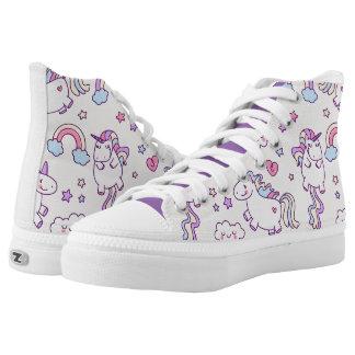 Kawaii chubby flying unicorns rainbow pattern printed shoes