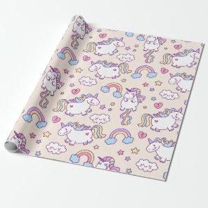 Kawaii chubby flying unicorns rainbow pattern wrapping paper