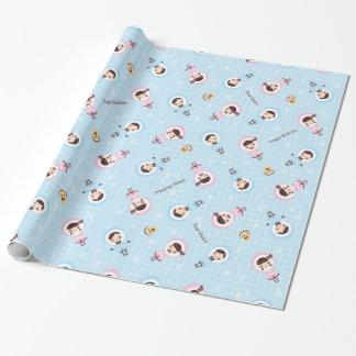 Kawaii Clara - Winter (blue) Wrapping Paper