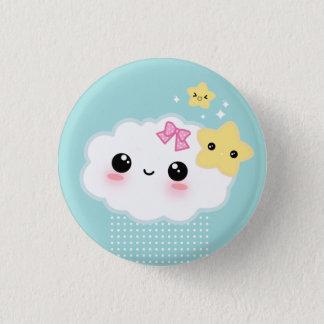 Kawaii cloud and cute stars 3 cm round badge