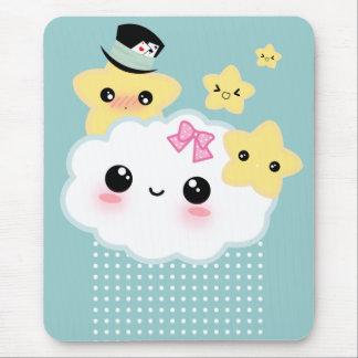 Kawaii cloud and cute stars mouse pads
