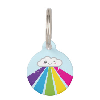 Kawaii Cloud and Rainbow Dog Tag