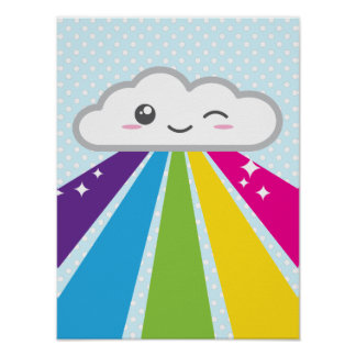 Kawaii Cloud and Rainbow Poster Print