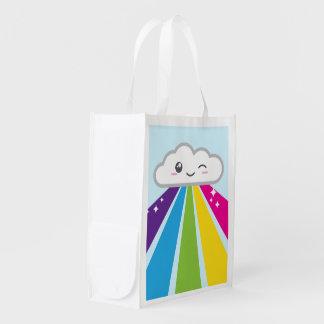 Kawaii Cloud and Rainbow Reusable Shopping Bag Grocery Bags