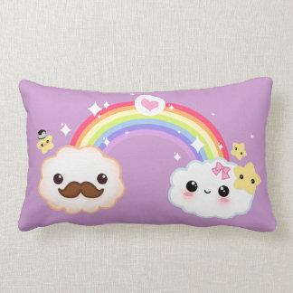 Kawaii cloud couple with rainbow and stars pillows
