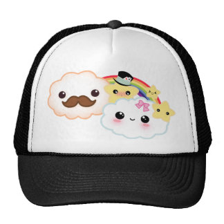 Kawaii cloud couple with rainbow and stars hats
