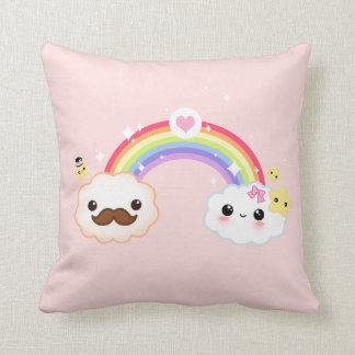 Kawaii cloud couple with rainbow and stars throw cushion